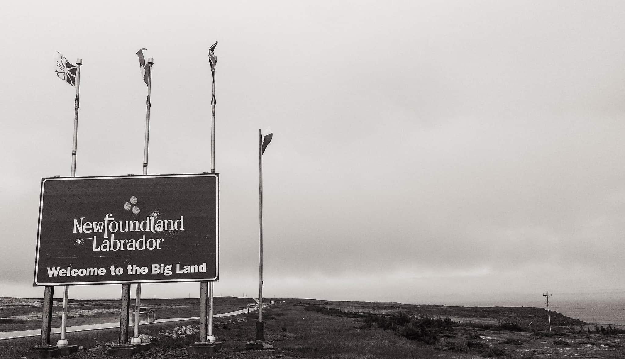Willkommensschild: Angekommen in Labrador