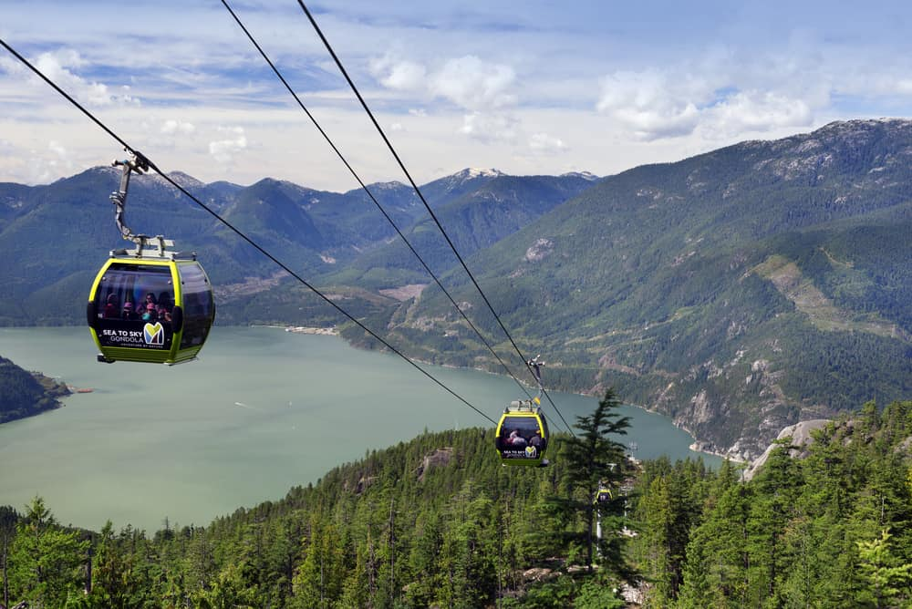 Schwebende Gondel Sea to Sky von Squamish, British Columbia