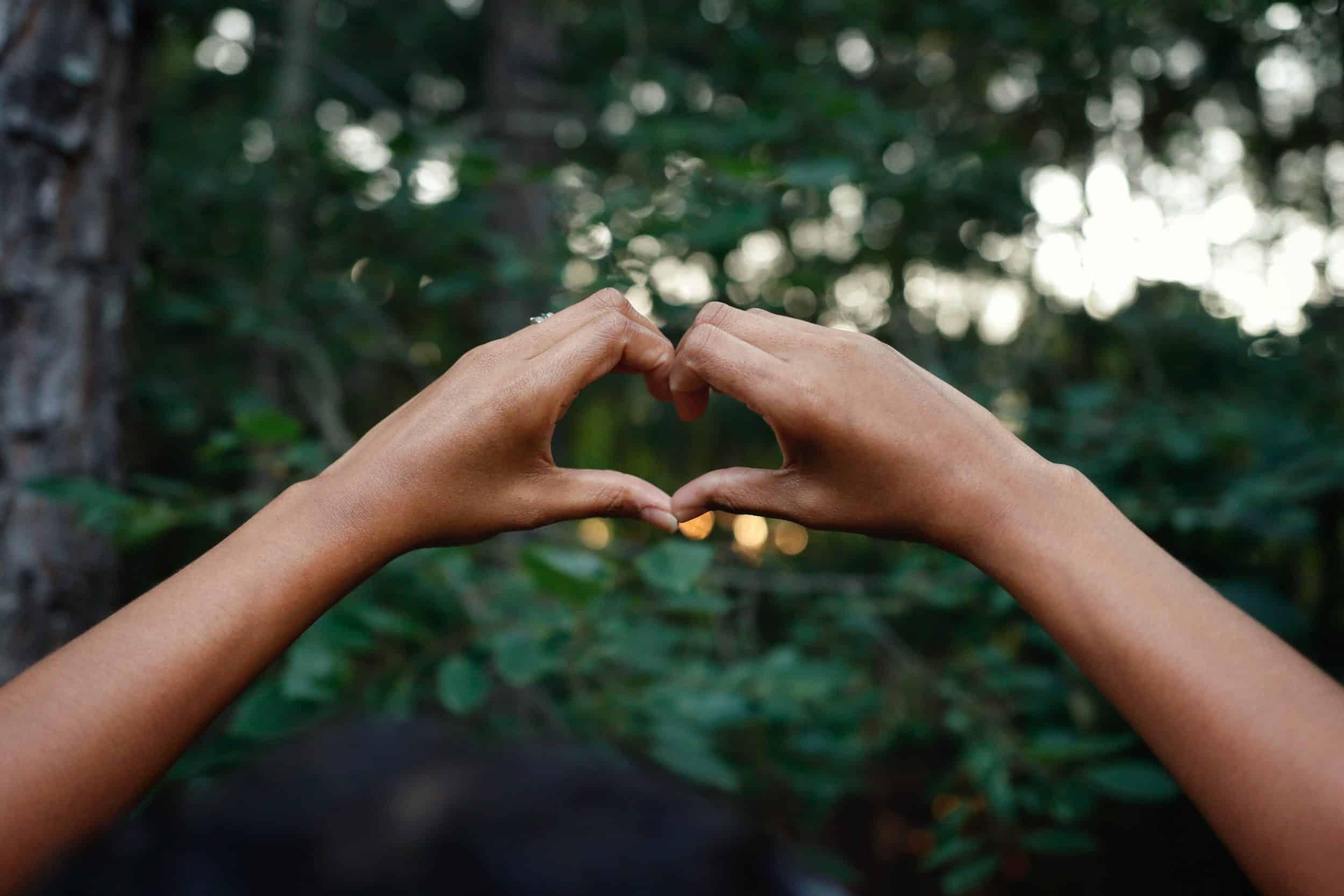 Zwei Hände vormen ein Herz