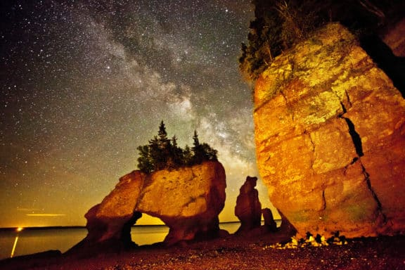 Die Fundy bay in New Brunswick bei Nacht
