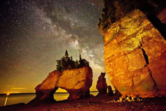 Die Fundy bay in New Brunswick bei Nacht