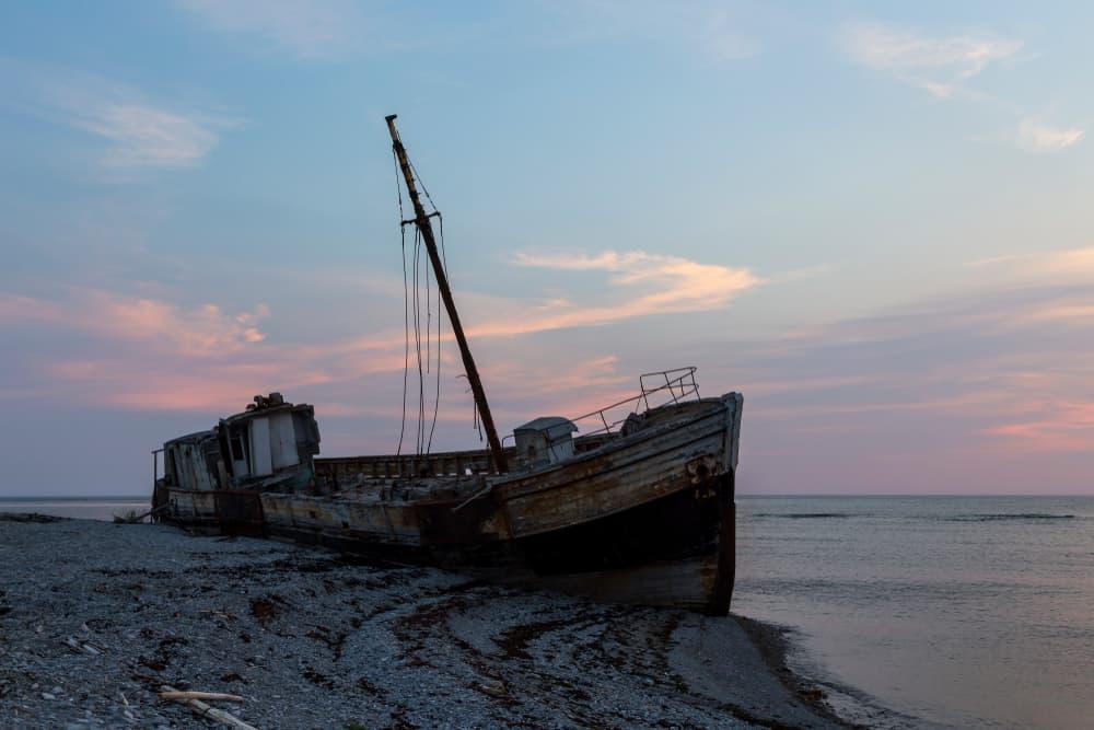 Trawler-Wrack auf Anticosti Island, Quebec, Kanada