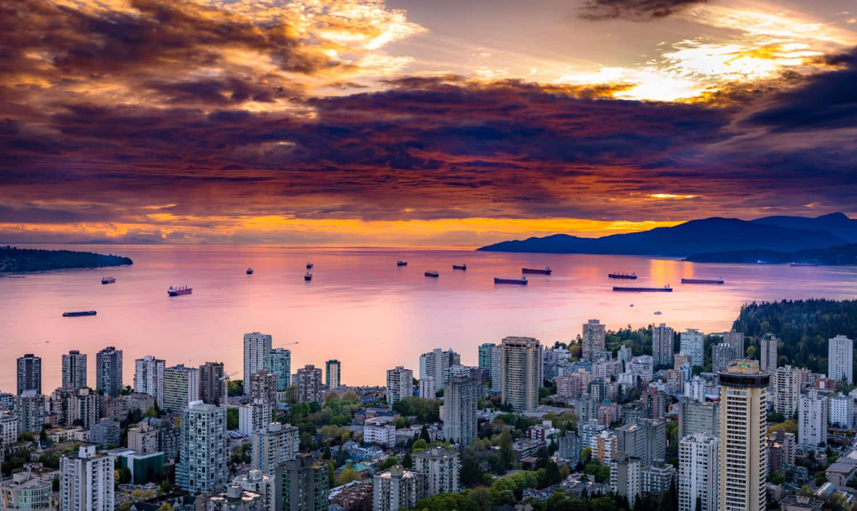Vancouver bei Sonnenuntergang