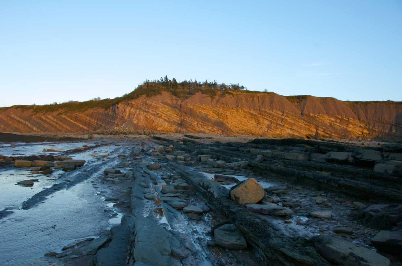 Aussicht auf die Joggins Fossil Klippen bei Sonnenuntergang