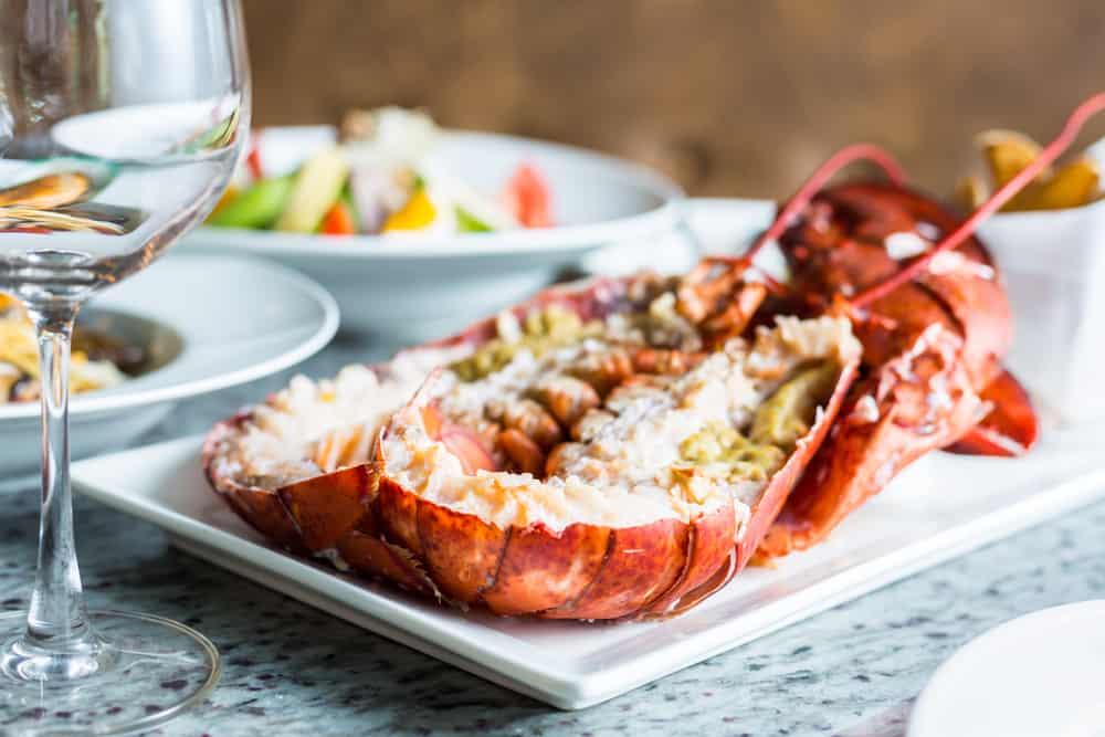Lobster serviert auf weißem Teller