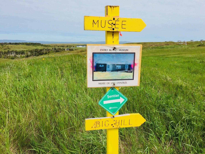 Museums Schild auf Entry Island, Quebec, Kanada