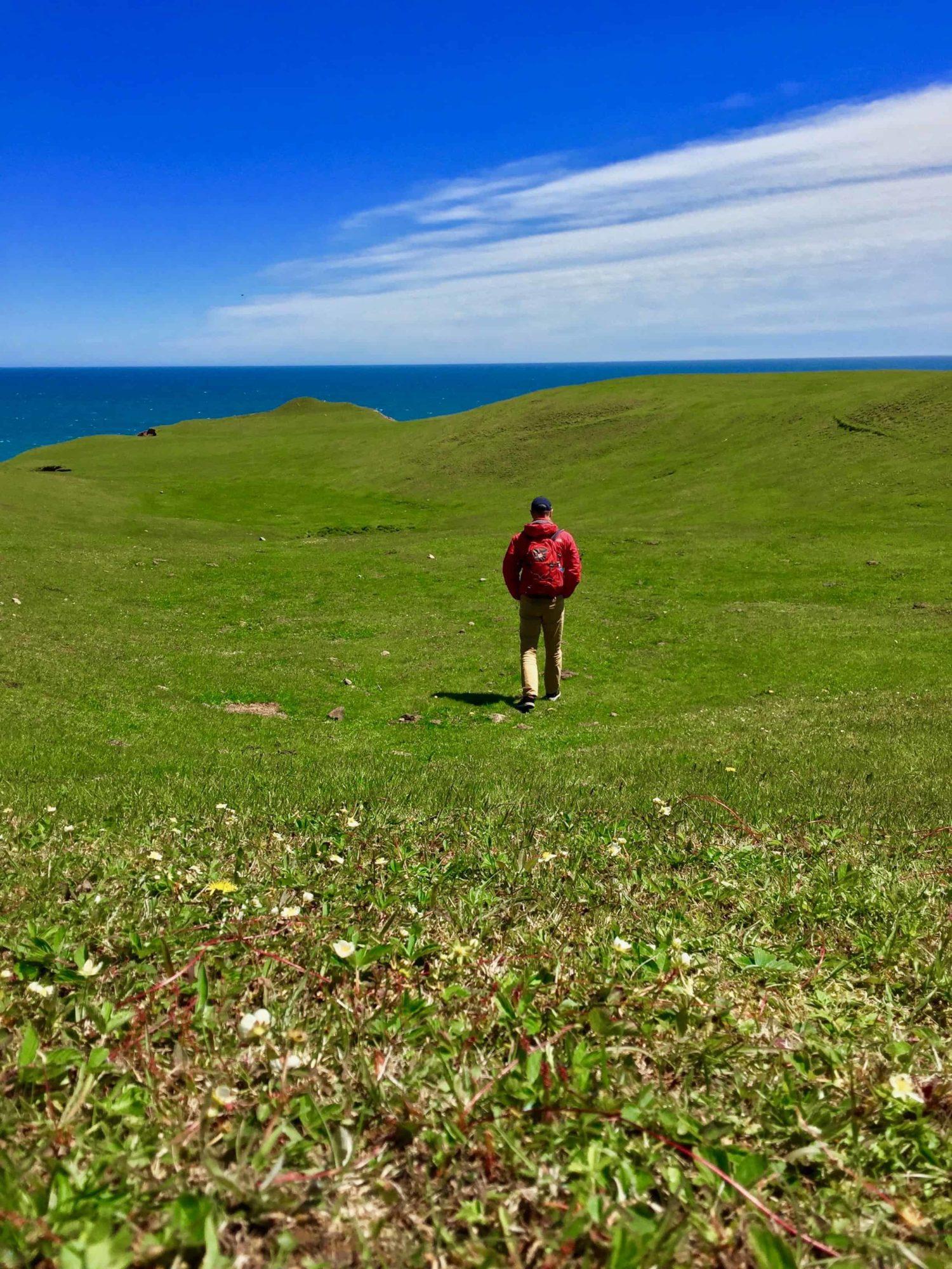 Mann auf grüner Wiese, Entry Island, Quebec, Kanada.