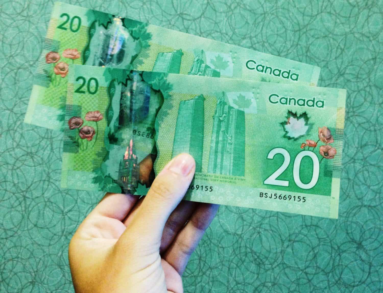 Kanadische 20 Dollar scheine in einer Hand