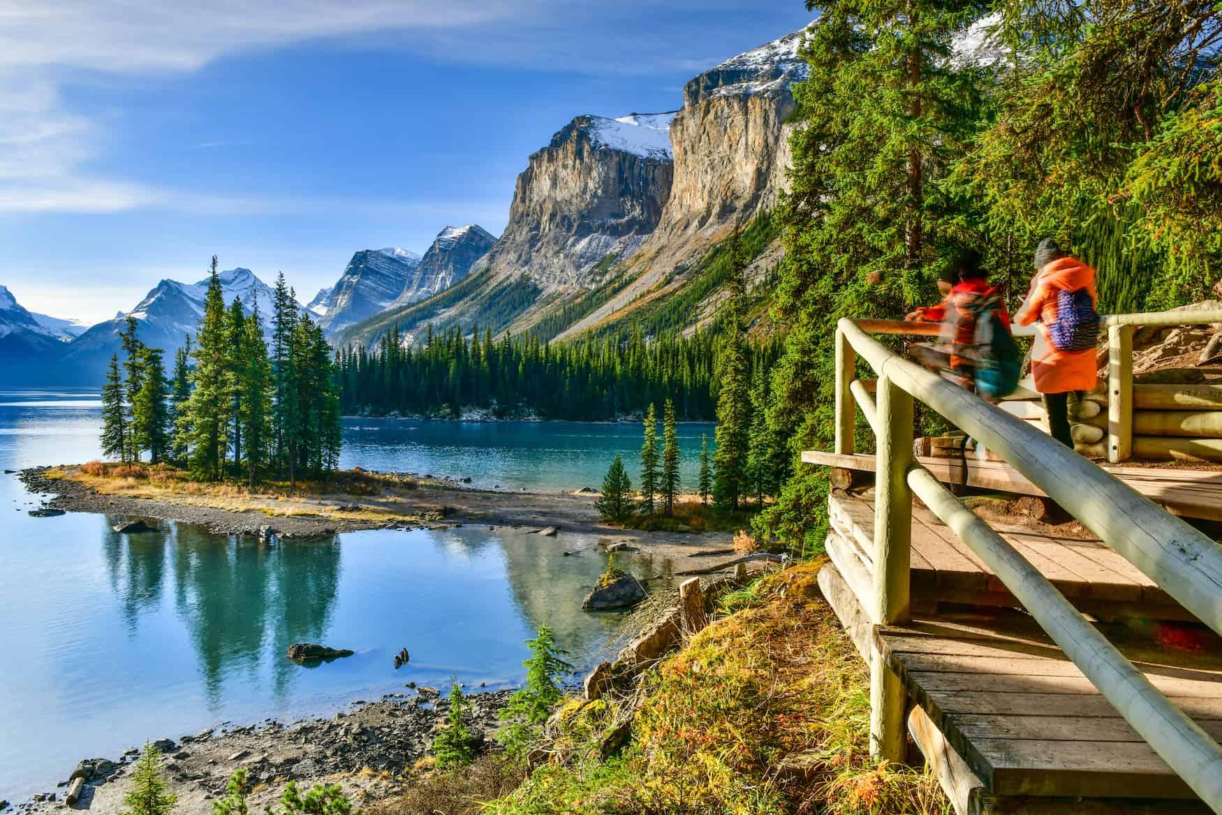 Aussicht auf den Maligne Lake, Jasper National Park, Alberta