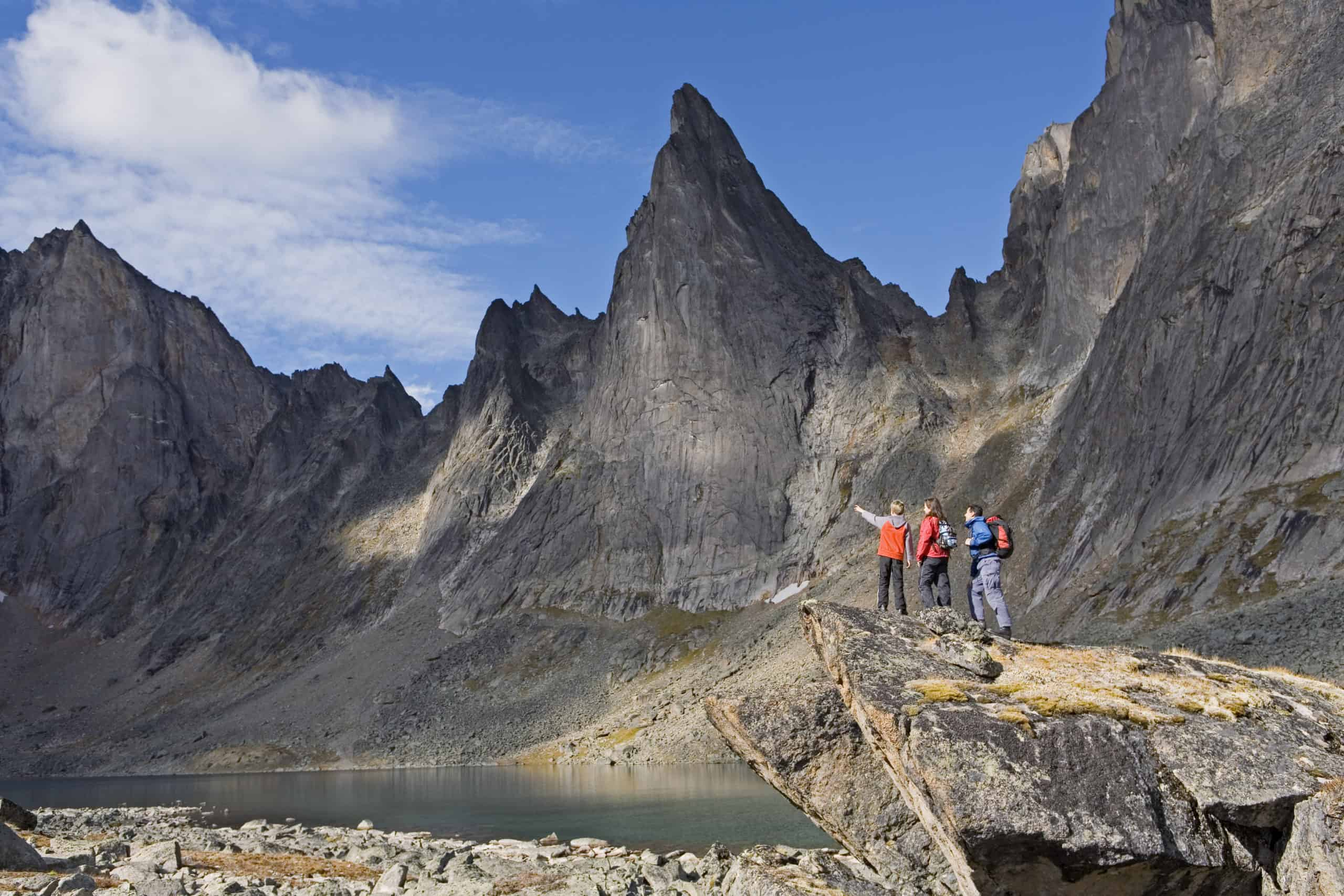 Hiking in Tombstone Territorial Park in the Yukon, Canada.